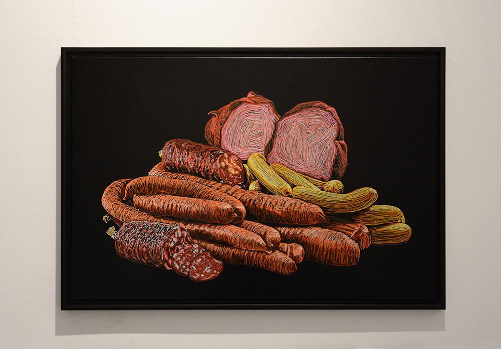 Stillleben mit Fleisch / stilllife with meat, # 9 Lackstift und Acryl auf Lackstoff, Keilrahmen 60 x 90 cm