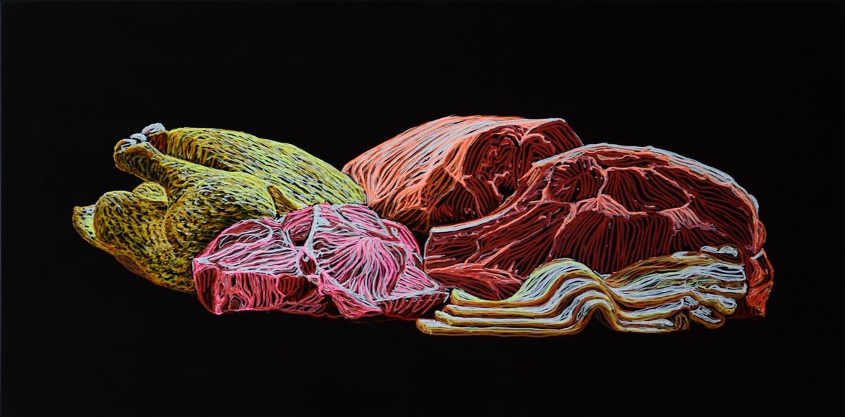 Katharina Arndt, Stillleben mit Fleisch #11, 40x100cm, courtesy Sexauer Gallery