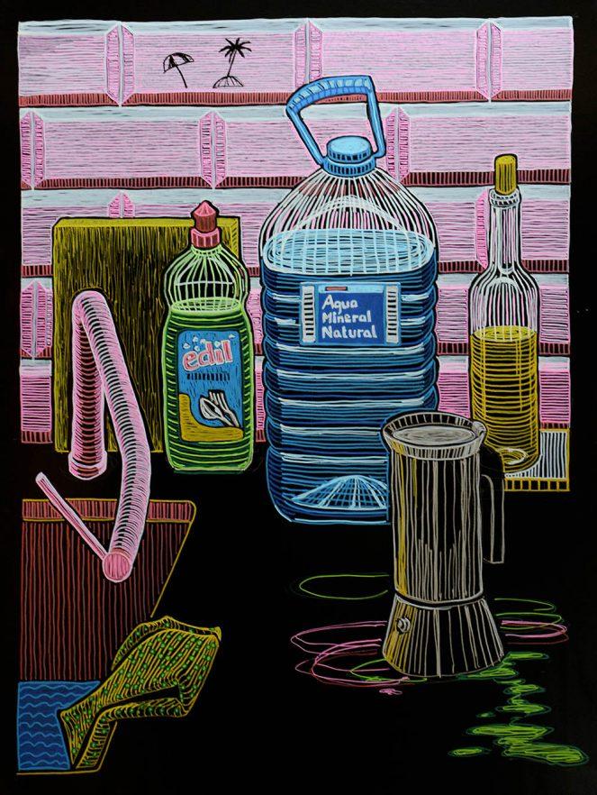 Katharina Arndt, #Basics(kitchen), 2018, 100x75cm, marker on lacquer fabric, Zeichnung, Stillleben